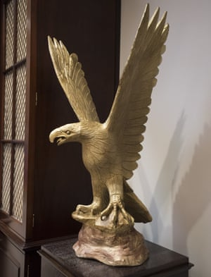 One of the new eagle statues at the White House.