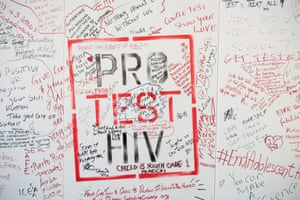 A slogan reading pro test hiv from the 2016 aids conference in Durban