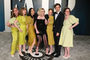 Little Women director Greta Gerwig, centre, and director Noah Baumbach (second from right) at the Vanity Fair party.