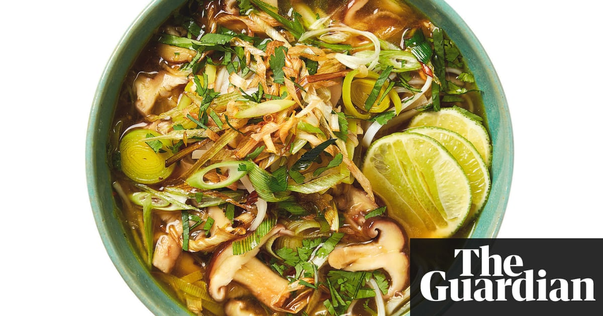 Meera Sodha's vegan recipe for shiitake pho with crispy leeks