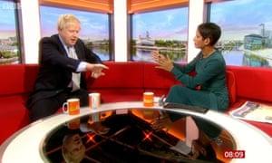 Naga Munchetty and Boris Johnson on the set of BBC Breakfast