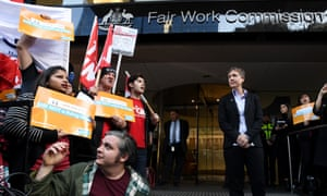 ACTU secretary Sally McManus speaks to supporters outside the offices of the Fair Work Commission in Melbourne, 1 June 2018.