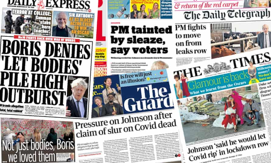 The UK's front pages focus on the PM's alleged remarks last year over Covid restrictions.