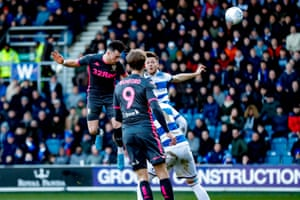 Leeds United midfielder Jack Harrison powers a header goalwards.