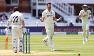 James Anderson of England celebrates taking the wicket of Kane Williamson of New Zealand.