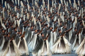 Performers dance at the opening ceremony of the 2008 Summer Olympics in Beijing.