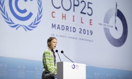 Greta Thunberg at Cop25 in Madrid in 2019