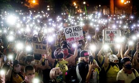 Black Lives Matter protesters in Portland, Oregon, in July.