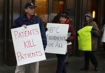 Activists protest in front of the offices of the Pharmaceutical Research and Manufacturers of America, on world Aids day 2015.