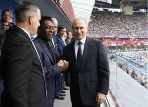 Putin and Pele in the St Petersburg Stadium.