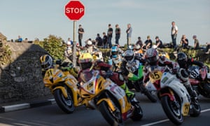 Riders in action in the Southern 100 road races 2017, Isle of Man.