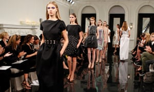 Models on the catwalk for the Victoria Beckham spring 2011 collection.