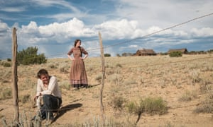 Actors Michelle Dockery and  Jack O'Connell in the Netflix series Godless