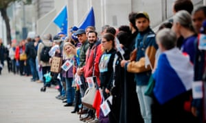 Demonstrators call on the government to clarify the position of EU nationals living in the UK after Brexit on 5 November 2018.