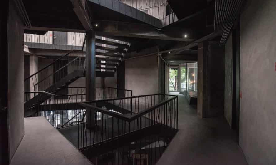 Interior of the industrial-chic Thrive The Hostel, Bangkok