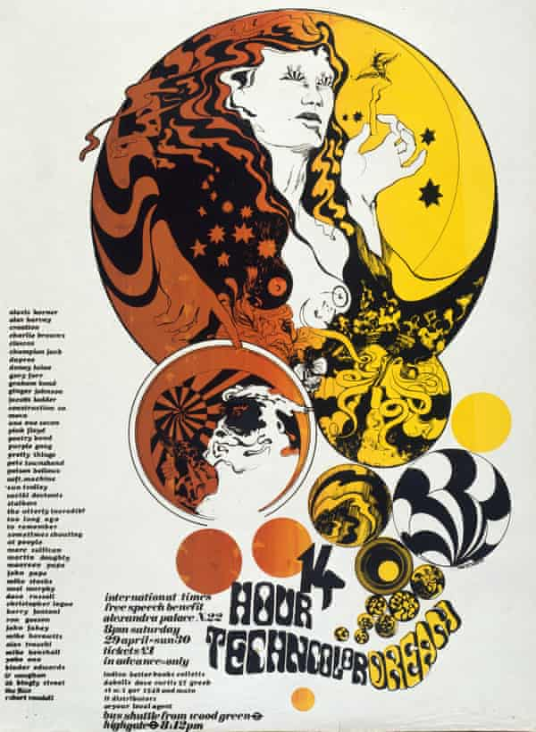 McInnerney's poster for the 14 Hour Technicolor Dream gig, with its ever-expanding list of bands.