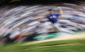 Texas Rangers starting pitcher Mike Minor throws during the seventh innings of the game against the Milwaukee Brewers on 11 August.