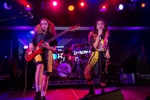 Nova Twins performing at Rockaway Beach festival.