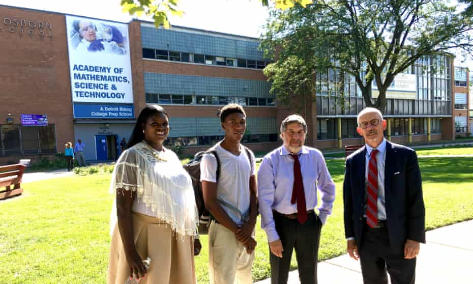 Andrea Jackson, counselor and parent at Osborn Evergreen Academy, with student Jamarria Hall, Mark Rosenbaum, director of Public Counsel, and Michael Kelly, partner at Sidley Austin LLP,
