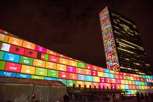The 17 Sustainable Development Goals are projected Massive scale projections and peoples' voices to celebrate UN70 and visually depict the 17 Global Goals Organized by the United Nations Department of Public Information in partnership with the Executive Office of the Secretary-General, the Office of the Special Adviser on Post-2015 Development Planning, the Global Poverty Project and other partners General Assembly 69th session: High-level Forum on a Culture of Peace Opening Statements by the Acting President of the General Assembly and the Secretary-General, followed by panel discussions