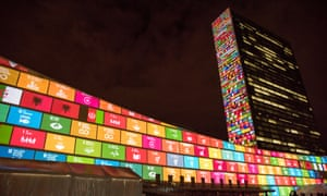 The sustainable development goals projected on to the UN Headquarters in New York