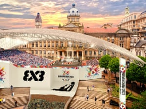 An artist's impression of the basketball in Victoria Square.