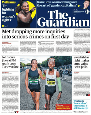 Guardian front page, Monday 10 September 2018