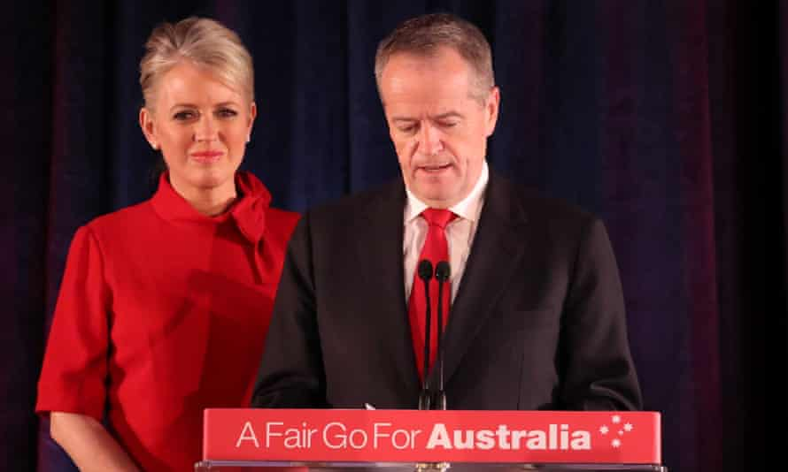 Bill Shorten, flanked by his wife Chloe