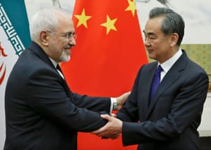 Chinese foreign minister Wang Yi meets Iranian foreign minister Mohammad Javad Zarif in Beijing.