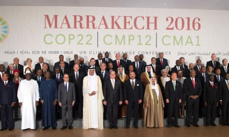 World leaders pose for a family photo at the UN World Climate Change conference in Marrakech.