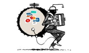 Illustration by David Foldvari of a one-man-band busker with card payment logos on his bass-drum skin