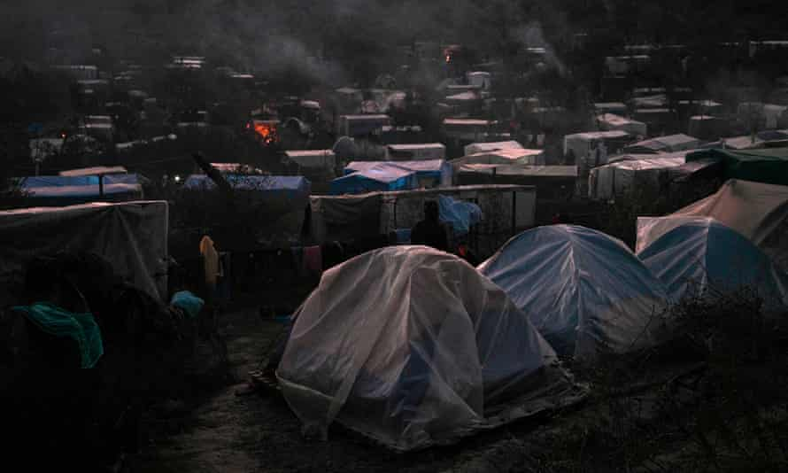 A makeshift camp next to the Moria refugee camp on the island of Lesbos