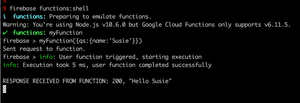 A screenshot showing how to include a query string when running a HTTPS Cloud Function locally using the Google Firebase shell.