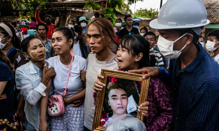 A funeral is held for Chit Min Thu, 25, who was killed in clashes on Thursday in Yangon, Myanmar.