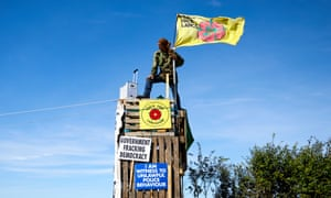A protest at the Preston New Road fracking site in Lancashire.