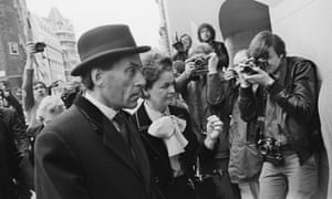 British Liberal party politician Jeremy Thorpe arrives, on 8 May 1979, at the Old Bailey in London at the start of his trial for conspiring to murder his ex-lover Norman Scott.