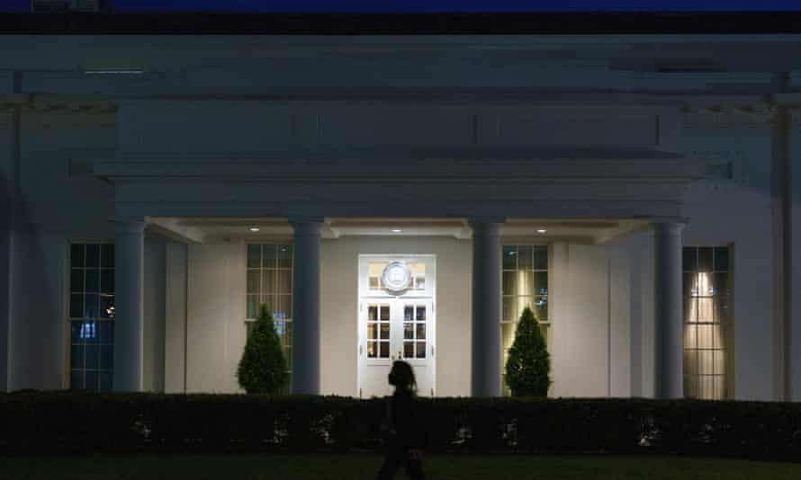 The West Wing of the White House press area. The press office is reportedly 'virtually empty'.