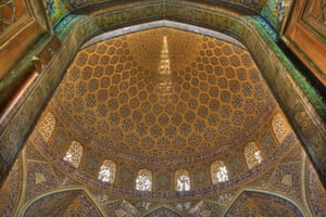 Inside the Sheik Loftallah mosque, in Isfahan, Iran. It is a Unesco world heritage site.