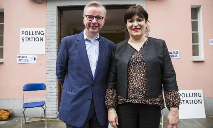 Michael Gove and Sarah Vine outside their polling station.