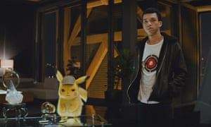 Entertainingly odd ... Ryan Reynolds voices Pikachu and Justice Smith as Tim in Pokémon Detective Pikachu.