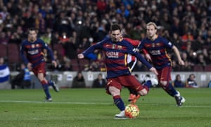 Barcelona's Lionel Messi scores a penalty to put his side in front against Athletic Bilbao.