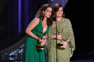 Tina Fey and Amy Poehler present an award