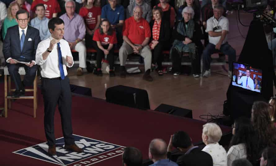 Mayor Pete Buttigieg speaks during a Fox News Channel town hall moderated by Chris Wallace this month.