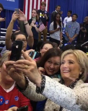 Hillary Clinton using SnapChat on the campaign trail.