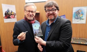 Fanboy … Ernest Cline, right, with director Steven Spielberg.