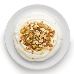 Felicity Cloake's pavlova, with nuts and gooseberries.