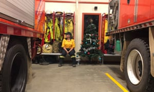 Tanya Willey sits in Eglinton RFS station after seven hours at a bushfire
