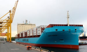 The Venta Maersk arrives at the port of St Petersburg on Friday