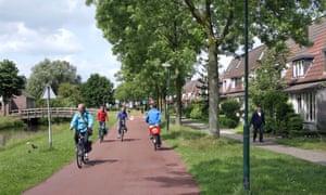 A cycle route in Houten, a Dutch new town near Utrecht