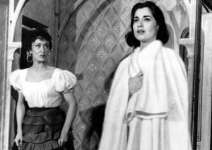 Chita Rivera, left, as Anita, with Carol Lawrence as Maria in West Side Story at the Winter Garden Theatre in New York in 1957.